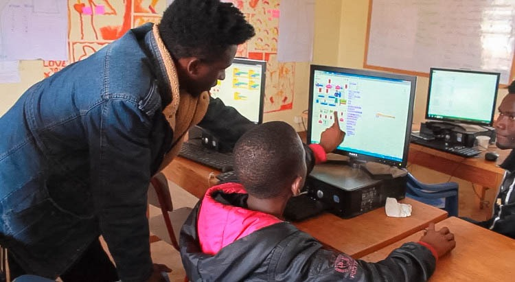 Young refugees learning game design with Nairobi Play
